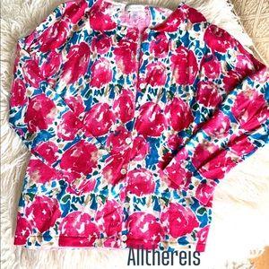 Garnet Hill Spring button down floral sweater S